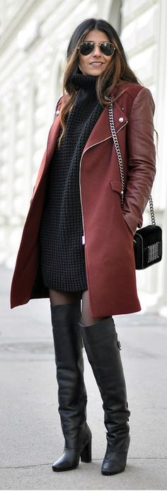 burgundy coat, black sweater-dress, black over-the-knee boots -- perfect fall look