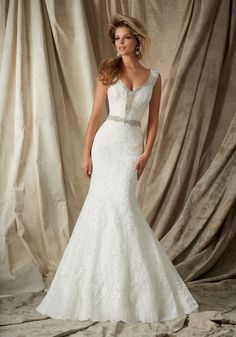 """Chantilly Lace with Venice Lace Appliques and Crystal Beading Bridal Dress. A-Line shape. Colors available: White and Ivory. Lengths 55"""", 58"""" and 61"""""""