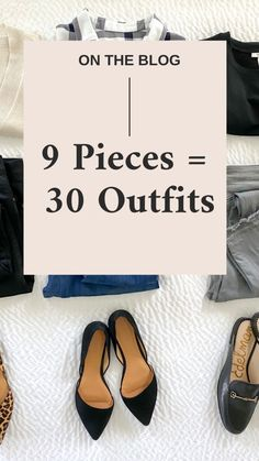 See how to mix and match 3 tops, 3 bottoms and 3 pairs of shoes for a total of 30 outfits with a sweater, plaid shirt, black tee, jeans, flats and mules. 10 Item Wardrobe, Fall Capsule Wardrobe, Black Flats, Black Mules, Leopard Flats, 30 Outfits, Travel Outfits, Grey Skinny Jeans, Gray Jeans