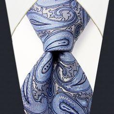 Q12 Paisley Turquois Silver Navy Mens Necktie Ties 100% Silk Fashion Wedding Jacquard Woven