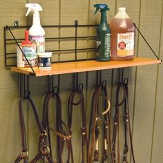 Wall Mount Wood Shelf W/5 Hooks...storage of above bridle racks! Perfect!