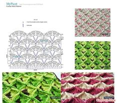 Узоры крючком от MyPicot +ссылка на МК. (пост закрыт) Crotchet Stitches, Crochet Stitches Patterns, Crochet Chart, Stitch Patterns, Knit Crochet, My Picot, Stitch 2, Blanket, Knitting