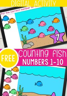 This fun interactive digital fish counting activity is perfect for your kindergarteners. This self-checking Google Slides activity is a great way to work on counting with kindergarteners. Use this digital counting activity in your kindergarten math center, homeschooling, or for distance learning. #counting #kindergartenmath #kindergartencounting #mathcenters #countingactivity #freegoogleslides #freesesaw