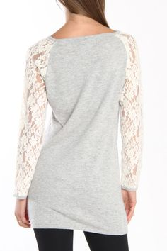 Lace Sleeve Gray Sweater