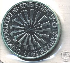 "Composition: Silver Diameter: 33mm Obverse: Eagle above denomination Reverse: In Deutschland"" - with spiral symbol"" Edge Lettering: FORTIVS CITIVS ALTIVS Edge Description: Lettering separated by periods     Front and back of coin pictured.   Has minimal discoloration due to age.  ""Deutschland"" variety. In original plastic sleeve with embossed ""G""."