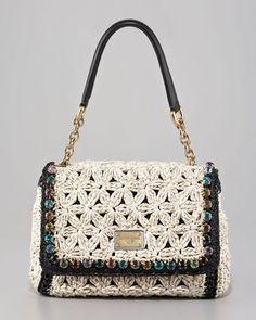 Dolce & Gabbana Miss Charles Jeweled Crochet Shoulder Bag