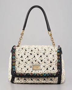 Dolce & Gabbana Miss Charles Jeweled Crochet Shoulder Bag
