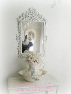 R O C O C O   White Mirror Ornate Shabby by smallVintageAffair, $169.00
