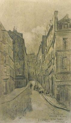 Combes Fernand - Charcoal (enhanced) - Vieux Paris, quartier St Victor, la rue des Boulangers - ~56.5x34cm; dessin daté de 1910.