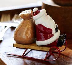 TOO CUTE!  Santa Sled Salt & Pepper Shaker Set   Pottery Barn