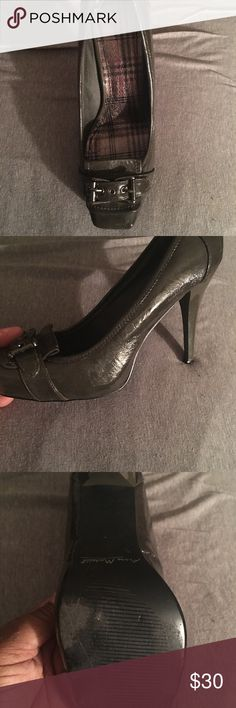 Patent leather charcoal gray platform stilletto. Half inch platformed front. In great condition. Anne Michelle Shoes Heels