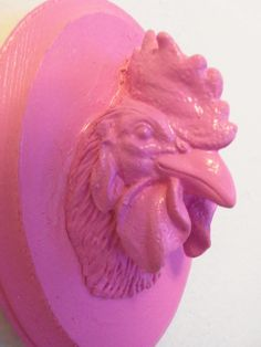 pink faux taxidermy rooster head wall hanging by CheeseCrafty, $15.00