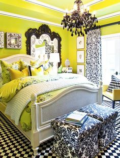 Black and white accents, lime green walls, damask, black chandelier. Great bedroom for a teen or anyone!