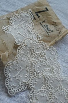 12pc Antique Lace, Vintage Appliques. Cotton Lawn Monogram Z Wedding Furnishings Supplies Downton Abbey by BrocanteArt on Etsy