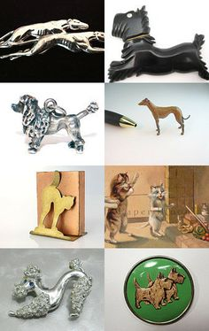 Features a vintage cast metal miniature greyhound figure in our Etsy shop.
