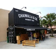 Chaiwalla Co Container Cafe, Malaysia. Container Coffee Shop, Container Office, Container Shop, Container Design, Shipping Container Cafe, Shipping Container Conversions, Shipping Containers, Container Buildings, Container Architecture