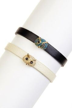 Owl Faux Leather Bracelet Set by Bansri on @HauteLook