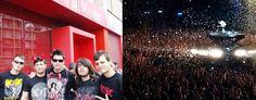 Concierto en Madrid el 31 de mayo. Nosotros minutos antes de entrar y Angus en plena actuación. Foto de Javier Guerrero.
