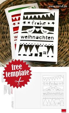 Christmas Card incl. free cutting file for Silhouette and as PDF / Weihnachtskarte inkl. kostenloser Datei für Silhouette und als PDF-Vorlage. Handprint Christmas Tree, Christmas Card Crafts, Christmas Greeting Cards, Greeting Cards Handmade, Felt Christmas, Christmas Ornaments, Plotter Silhouette Cameo, Free Printable Card Templates, Simple Christmas Cards