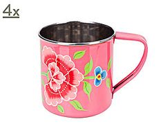 Handbemalte Tassen Franjipani, 4 Stück, pink