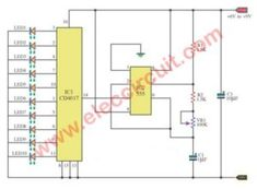 There are LED Chaser circuit or LED running lights. Using 4017 decade counter 555 timer as main. So easy to make and cheap. Learn and fun! Electronics Basics, Electronics Projects, Simple Electronic Circuits, Electronic Schematics, Light Emitting Diode, Led Diy, Electronic Engineering, Arduino, Floor Plans