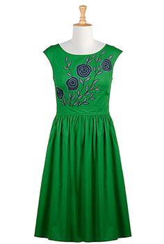 I <3 this Floral applique poplin dress from eShakti