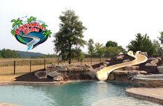 Here is another #PoolSlide model PS36L-C in Beige looking Great! #PoolSlides #SwimmingPoolSlide Swimming Pool Slides, Swimming Pools, Water Slides, Can Design, Backyard, Beige, Model, Swiming Pool, Pools