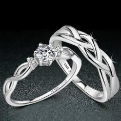 Latest 925 Sterling Silver Emulation Diamond Lover's Rings(Price for One Pair)