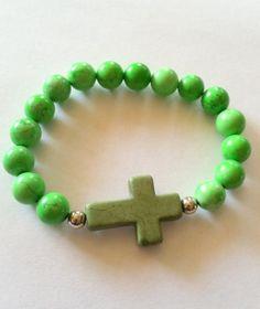 Gemstone Bracelet Green Apple Howlite Cross Bracelet by KiKiJabriJewels on Etsy, $12.00