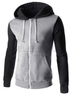 (RDJ01-BLACK) Mens Slim Two-Tone Zipper String 2 Pocket Colorful Napping Hooded Jacket