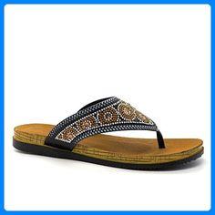 London Footwear Damen Zehentrenner Schwarz Schwarz Kdt5hnE4c