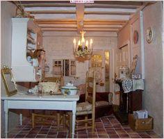 """Dans la cuisine de """"la vie en rose"""". Shabby Chic, French, Dollhouses, Minis, Kitchen, Miniatures, Decor, Kitchens, Cooking"""