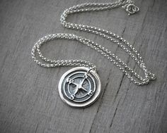 Wax Seal Silver Compass Rose Necklace - Sterling Silver Chain - .999 Fine Silver Compass Charm - Handcrafted Artisan Jewelry