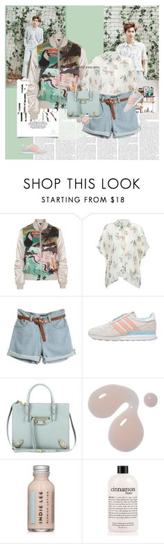 """""""Grandpas Over Flowers"""" by e-laysian ❤ liked on Polyvore featuring Topshop, adidas Originals, Balenciaga, Indie Lee, philosophy and Fresh"""
