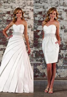 I need something like this! A 2 in 1 dress for wedding and reception!!!