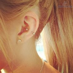 Snug Piercing With Barbell And Lobe Piercing With Stud