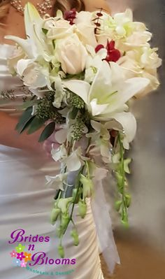 Oriental Lily with Roses & Orchid cascade
