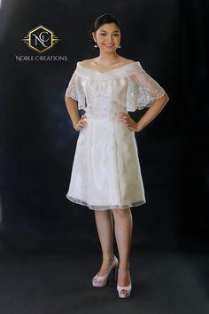 Filipiniana Top and Dress (Kultura), Modern Filipiniana Gown, Filipiniana Wedding, Civil Wedding Dresses, Grad Dresses, Short Dresses, Kebaya, Maria Clara Dress Philippines, Filipino Fashion, Philippine Fashion