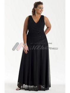 A-line V-Neck Floor Length Chiffon Plus Size Cocktail Dress (MLSW20651)