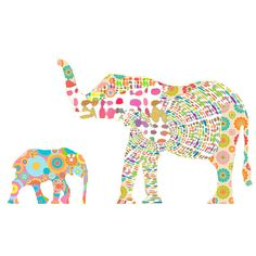 This is a listing fro one digital collage Elephant art print. It is modern and abstract. Hang it in a childs nursery or bathroom or decorate your