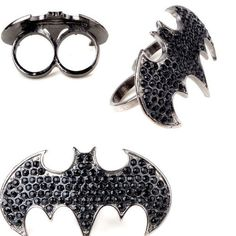 Retro Vintage Gothic Pave Rhinestone Black Bat Batman Punk Rock Two Finger Ring $1.45 | eBay