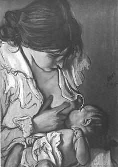 Wyspianski - Art w/ dogs - Embarazadas Mother Art, Mother And Child, Art Drawings Sketches Simple, Pencil Art Drawings, Illustration Art Dessin, Illustrations, Breastfeeding Art, Birth Art, Pregnancy Art
