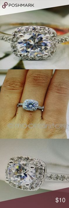 Gorgeous 925 Sterling Silver CZ, Smaller. Dainty. So breathtaking in the perfect light.... Looks so real! **PRICING FIRM** Jewelry Rings