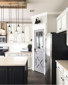 Modern Farmhouse Kitchen Design   Love This Chandelier And The Sconce Over  The Pantry Door
