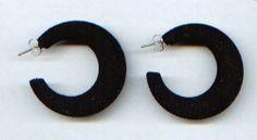 Creolen, Ohrringe, Ohrhänger -  Ø 3,5 cm (schwarz-Textil) - nickelfrei