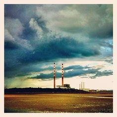 Sandymount Strand in Dublin, Dublin City Dublin Bay, Beach Walk, Red And White Stripes, Four Square, Surfing, Coast, Skyline, Clouds, Ink