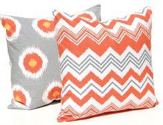 Chevron orange and grey throw pillow