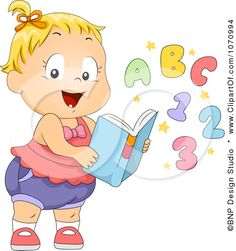 Clipart Baby Girl With A Learning Book - Royalty Free Vector Illustration by BNP Design Studio