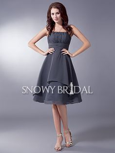 Grey Knee Length Chiffon Ruched Strapless A-Line Bridesmaid Dress - US$ 74.99 - Style B1380 - Snowy Bridal