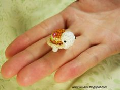 Tiny Flowery Turtle, New Brown 01 Crochet Miniatures Collectibles toys    I like turtles!